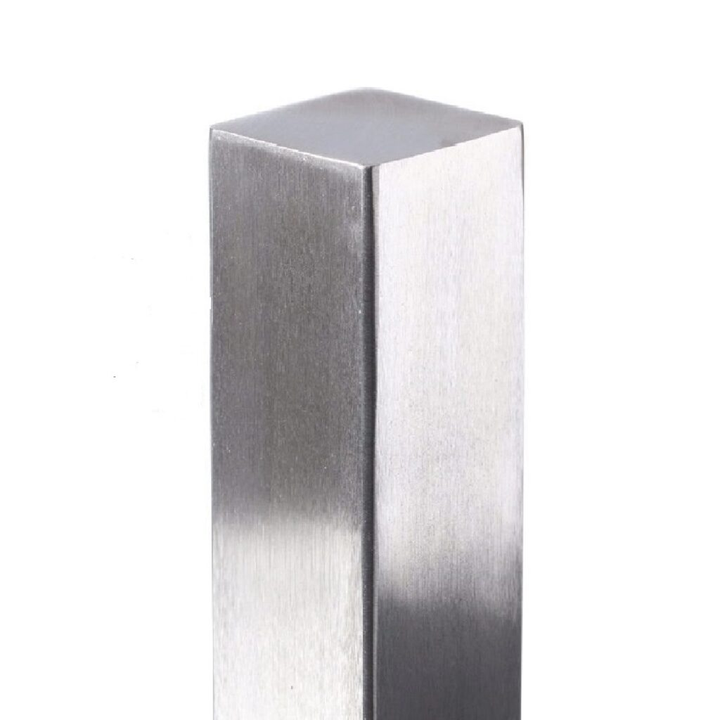 brushed stainless steel finish on post
