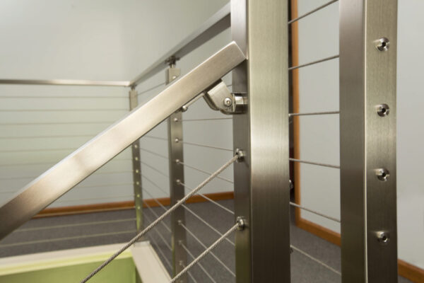 Cable Railing with metal posts and handrails