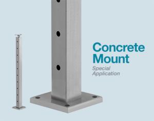 Cable railing post for concrete