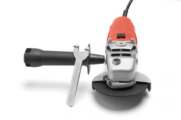 Red SKIL angle grinder front view with wrench accessory