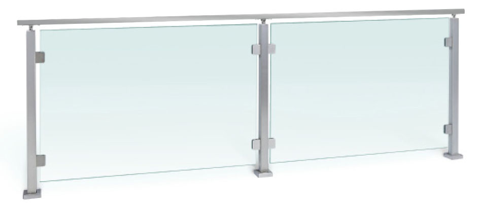 Viewrail Glass Railing with Posts and Handrail