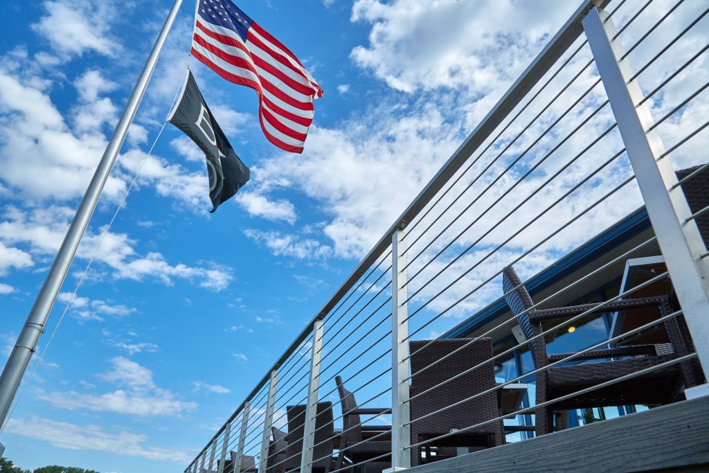 Exterior Cable Railing with American Flag