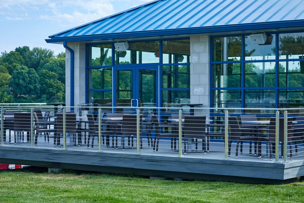 Lakeside deck modern railing system