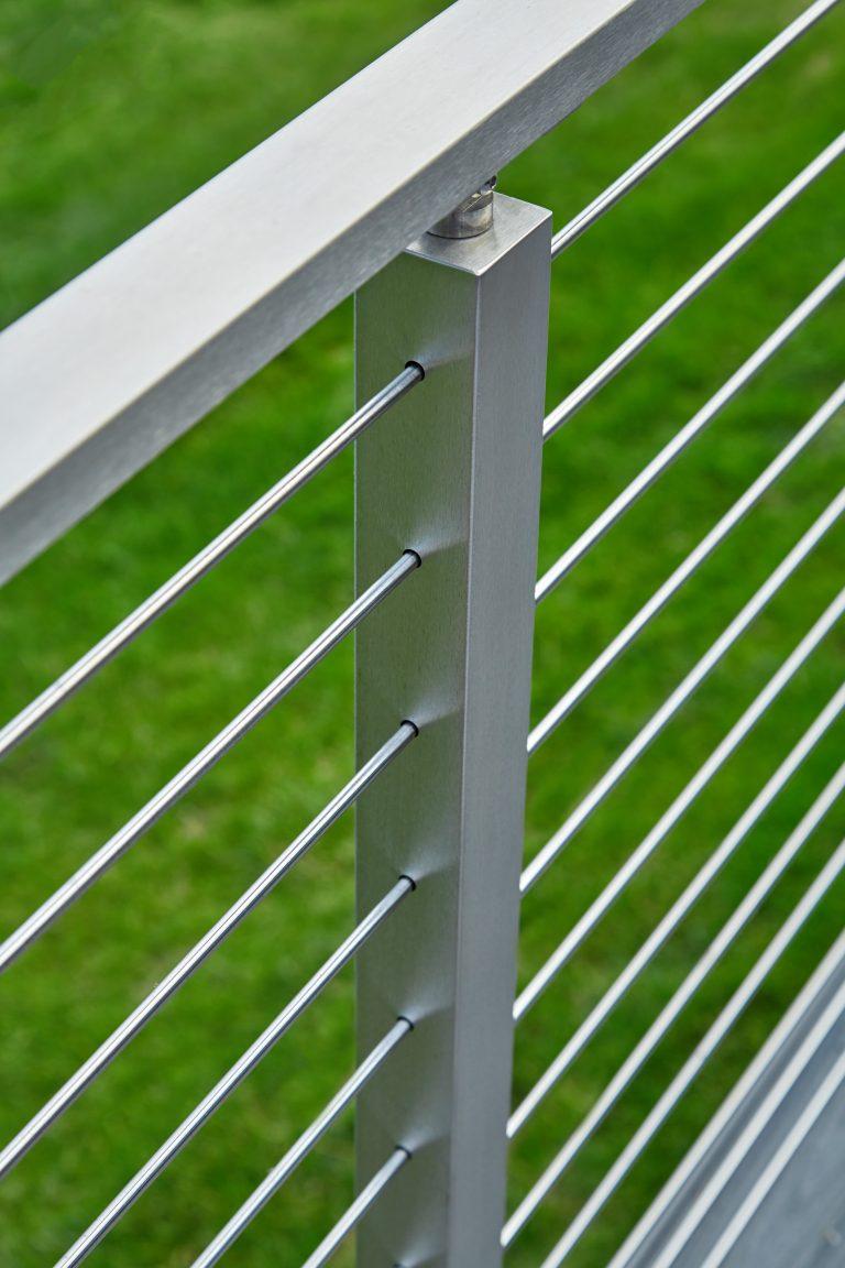Lakeside deck stainless steel rod railing post detail