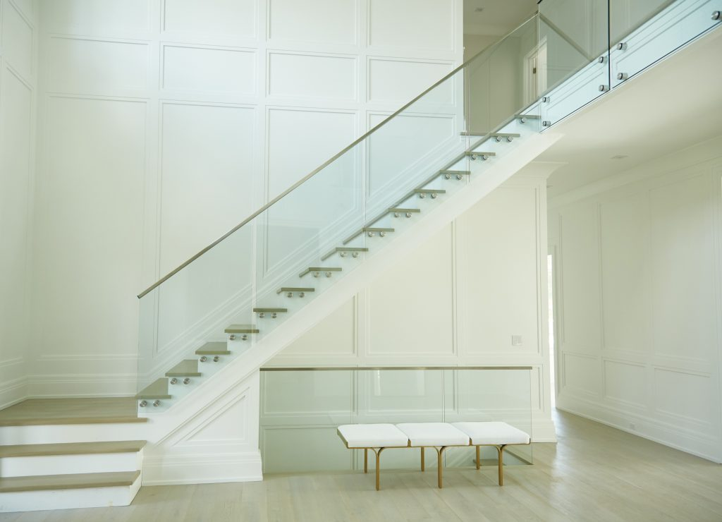 Floating Stair with Borderless glass railing, New York