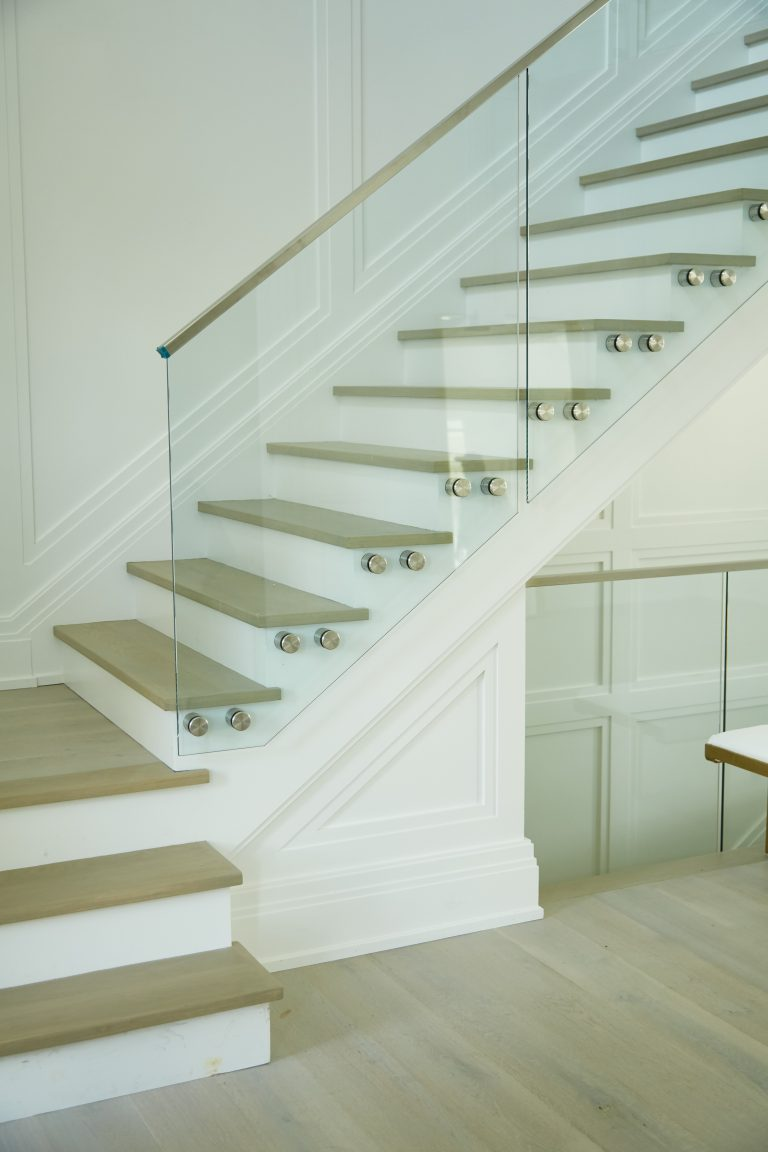 Interior Floating Staircase with Glass railing and standoff pins