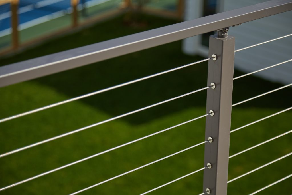 Cable Railing Close up silver posts