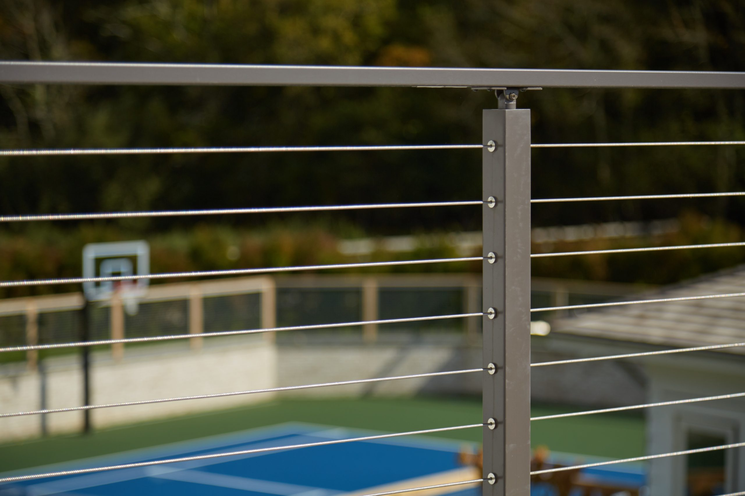 Cable railing grey posts and grey handrail detail