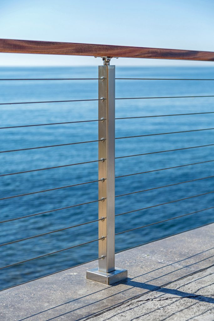 Cable Railing post ocean side deck