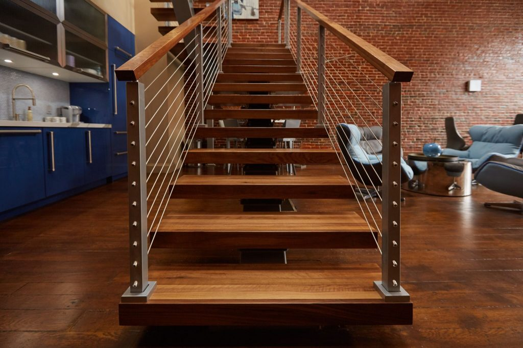 Upward Floating stair view with stainless steel Cable railing