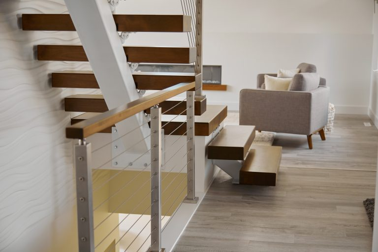 modern stairs with wooden steps