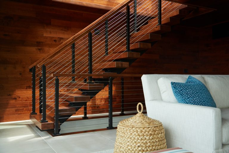 Floating Staircase with Aluminum Posts and Cable Railing