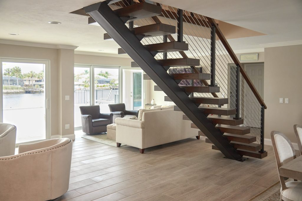 stainless steel stringer in open concept home