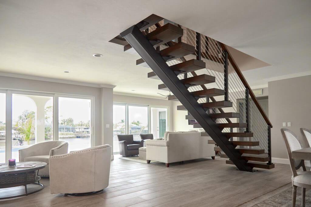 open concept mono stringer stair