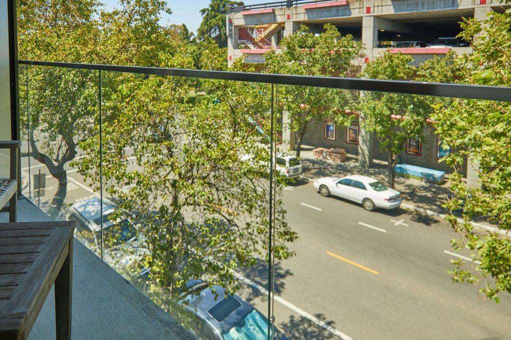 Balcony Glass Downtown View
