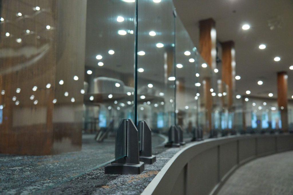 Close Up of Glass Railing Spigots