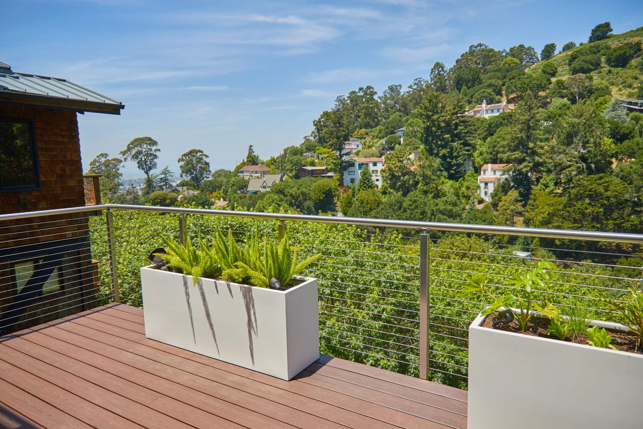 Sleek Cable Railing with Trees Beyond