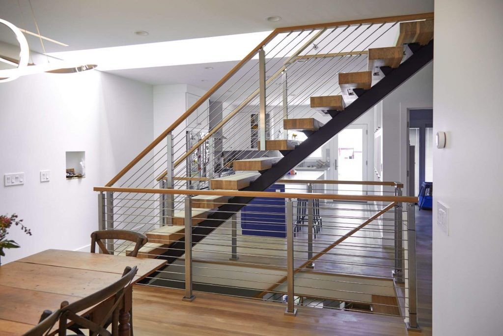 Floating Stairs with Rod Railing and Posts
