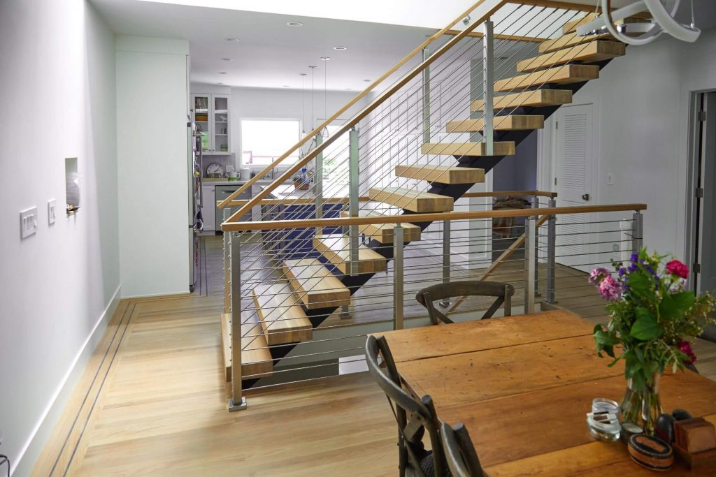 Floating Staircase with Thick Treads