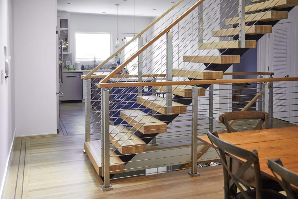Floating Staircase with Rod Railing