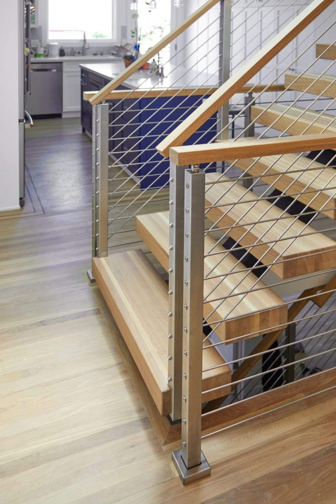 Close Up on Rod Railing Posts for Floating Stairs