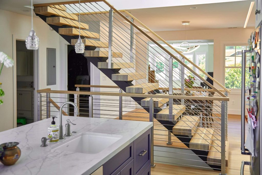 Floating Staircase Connects Kitchen and Upstairs