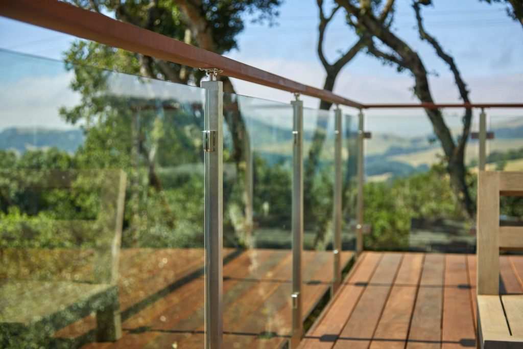 Close Up of Glass Panels and Posts