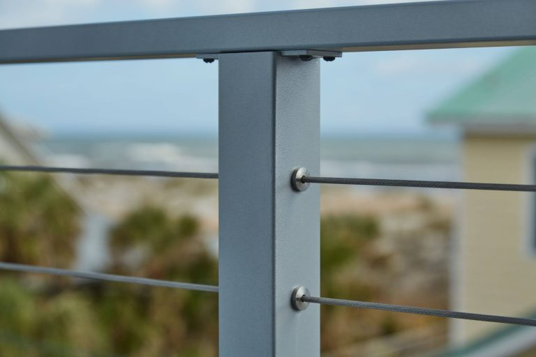 Flat Top Posts with Metal Handrail
