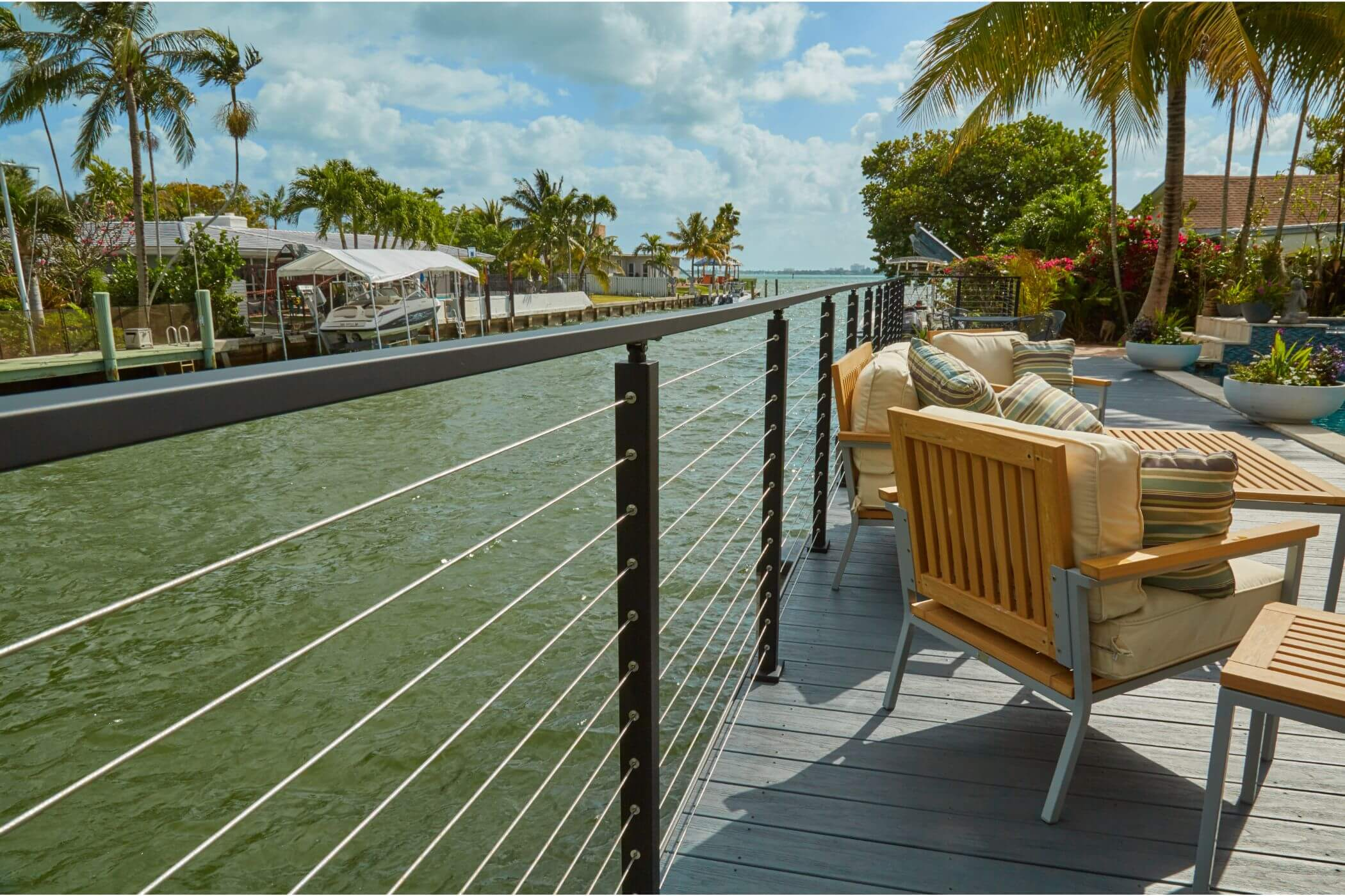 Black Cable Railing Waterfront Posts