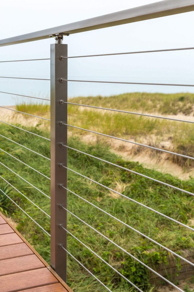 Cable Railing with Grass in Background