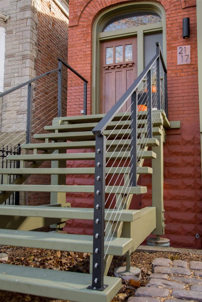 Black Powder Coated Cable Railing Posts