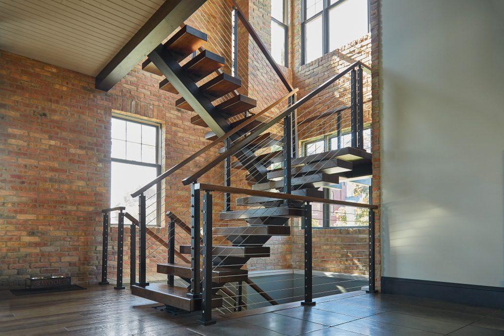 metal u shaped staircase