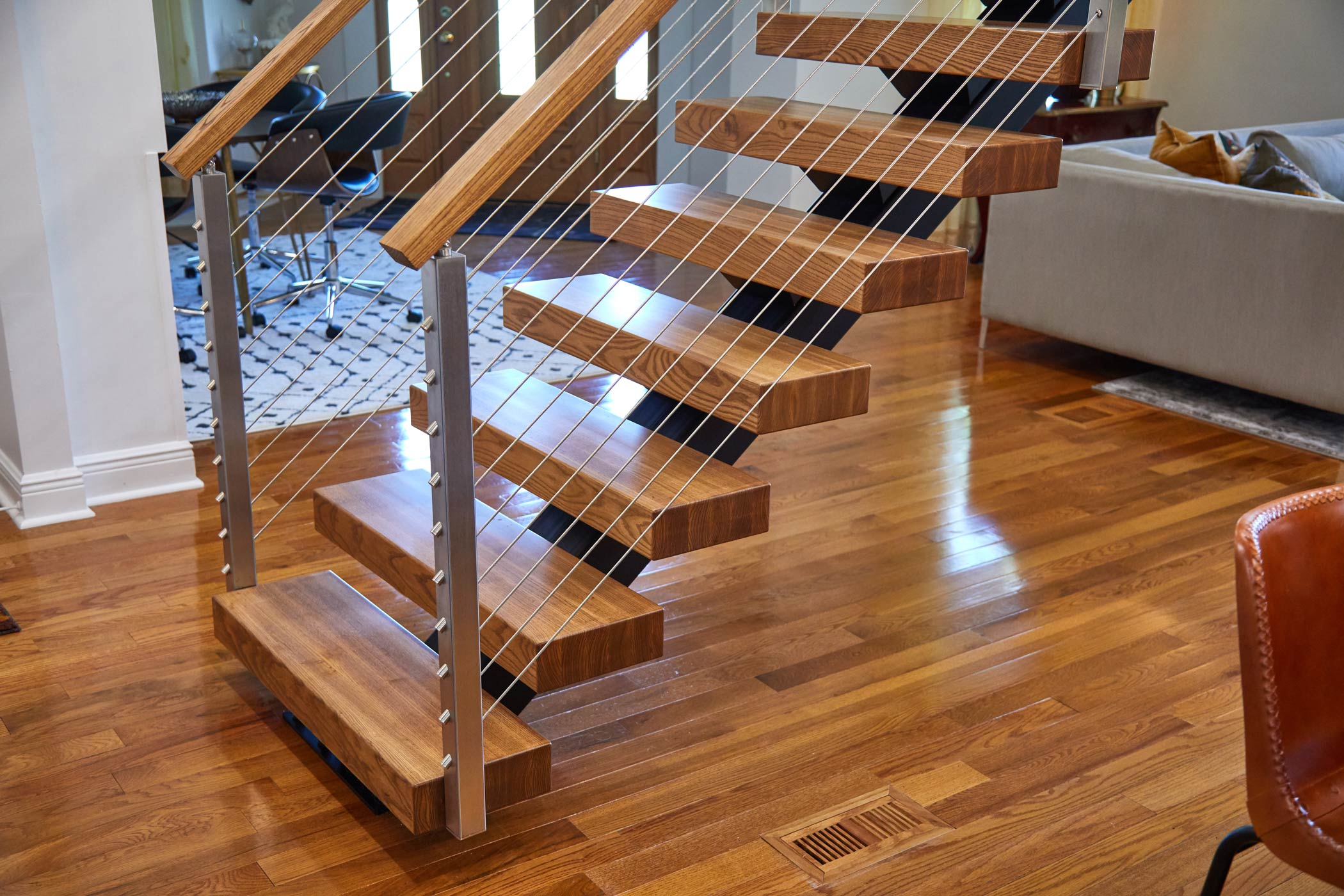 indoor cable railing on stairs