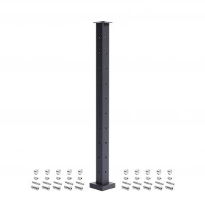 Corner post with black finish and layout of included hardware
