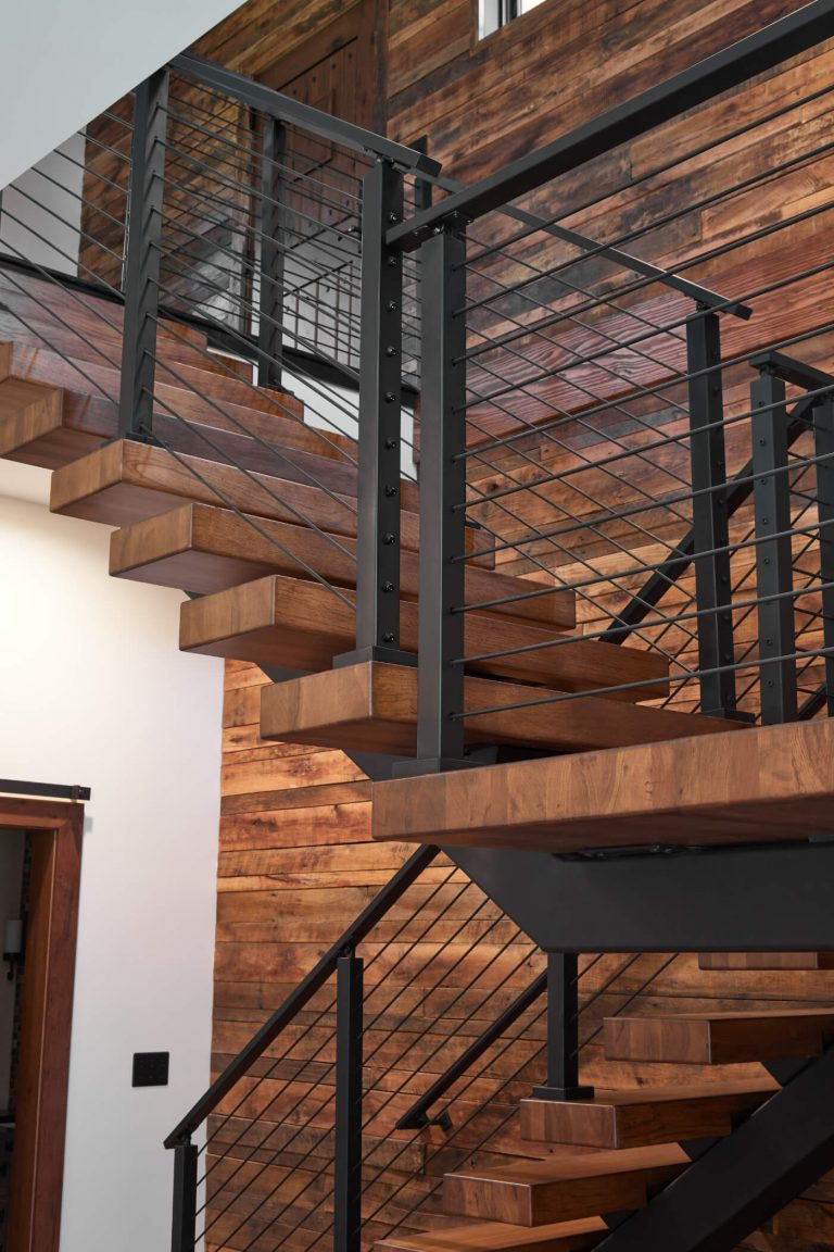 Hickory Floating Stair Treads with Rod Railing Posts