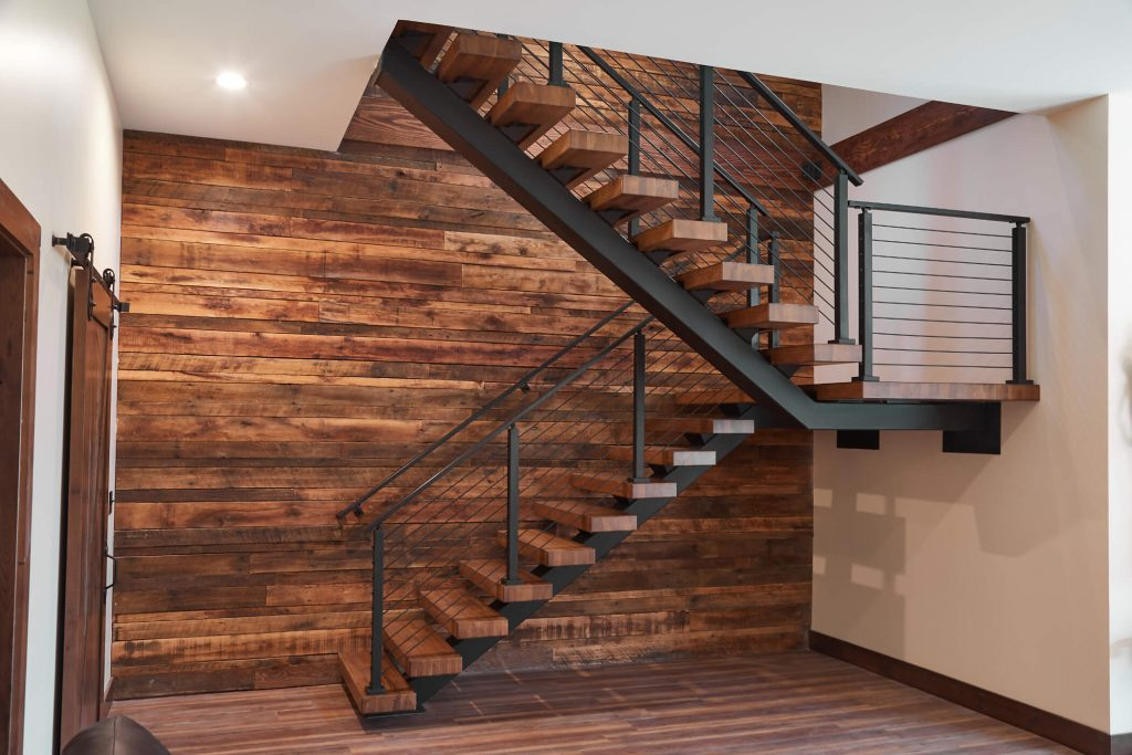 Floating Staircase with Onyx Rod Railing
