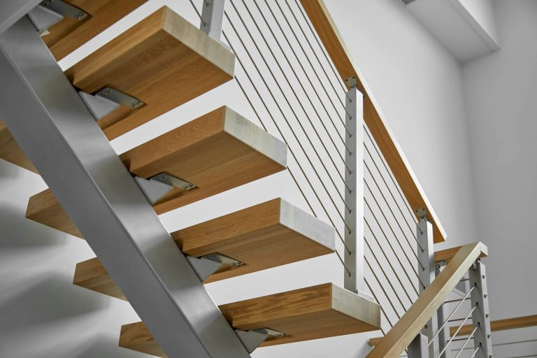 Close Up of stair treads with metal stringer