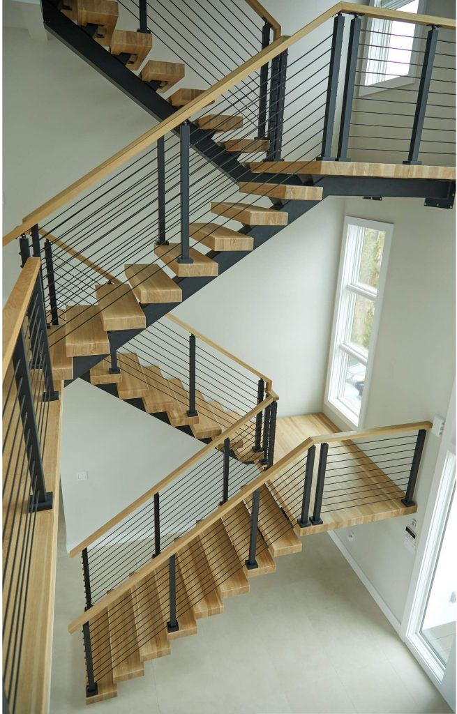 Indoor Double Switchback Floating Staircase