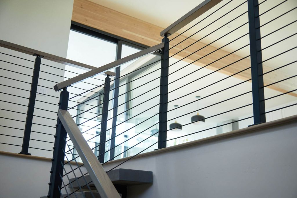Residential Stairs with Rod Railing